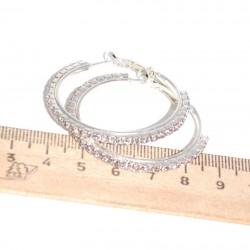 Серьги кольцо страз D 4 см серебристые