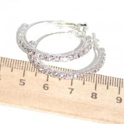 Серьги кольцо страз D 3 см серебристые