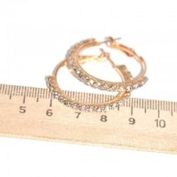 Серьги кольцо страз D 3 см золотистые