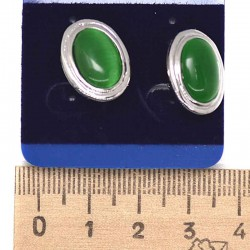 Серьги пхх модель 24 под кошачий глаз т.зеленый