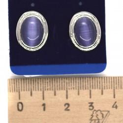 Серьги пхх модель 26 под кошачий глаз фиолетовый