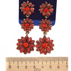 Серьги вхх модель 10 цветы красные