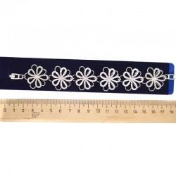 Браслет серебристый цветы модель 9