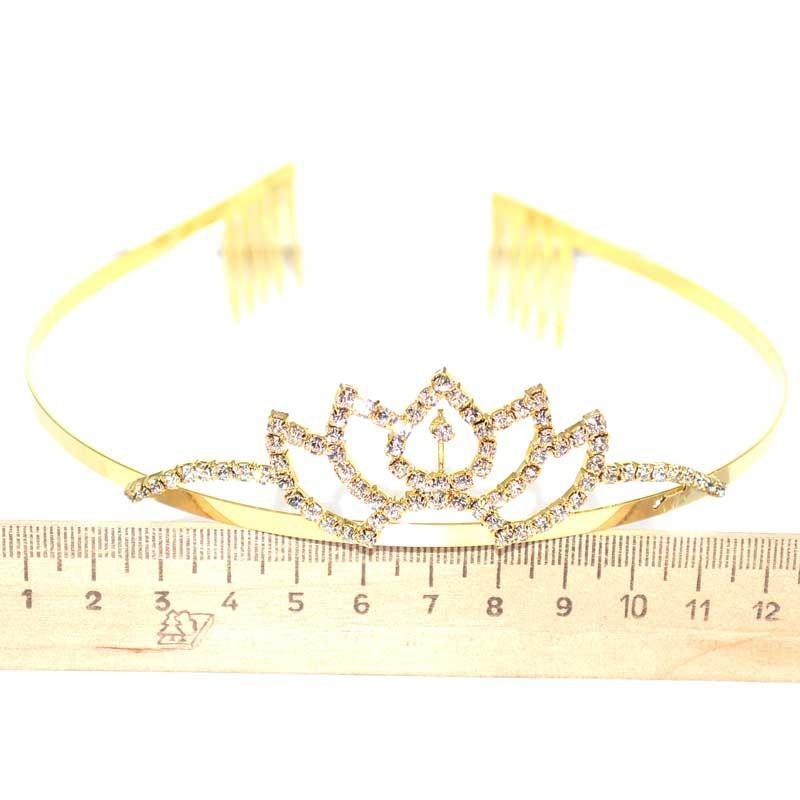 Диадема маленькая модель 6 золотистая шпиль