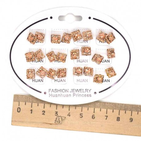 Серьги квадрат золотистый 1 пара модель 5