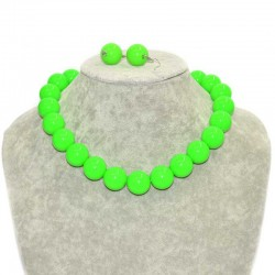 Набор бусы крупные с сережками св. зеленый Б2