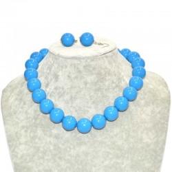 Набор бусы крупные с сережками синий Б3