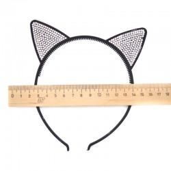 Ободок М5 ушки кошки черный стразы (1 шт)