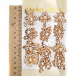Брошь модель 14 цветок золотистый, жемчужина