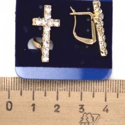 Серьги пхх модель 49 крестик золотистый