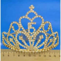 Диадема стразы высокая модель 30 высота 11см золотистая