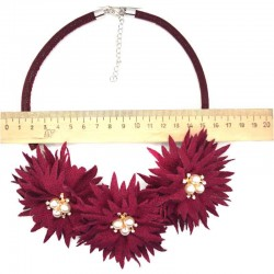 Колье цветы жемчужины 45 см бордо М44