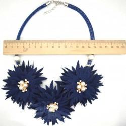 Колье цветы жемчужины 45 см синий М45