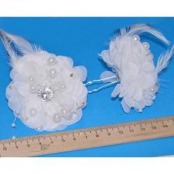 Шпилька цветок белый бусины М8 (2 шт)
