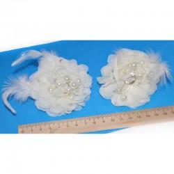 Шпилька цветок айвори бусины М8 (2 шт)