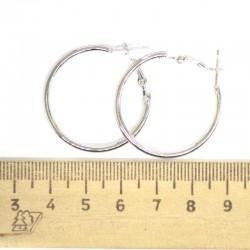 Серьги кольца серебристые 3см М50