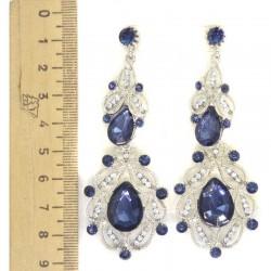 Серьги М32 серебристые синий камень