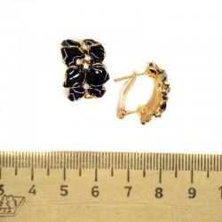 Серьги полукольцо эмаль черная М51