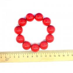 Браслет крупные жемчужины красный М38