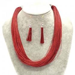 Набор подвеска серьги красный М37