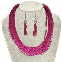 Набор подвеска серьги яр. розовый М37