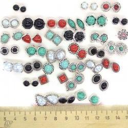 Пусеты под натуральный камень микс (1 пара)