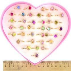 Кольцо с розой микс (5 шт) М4
