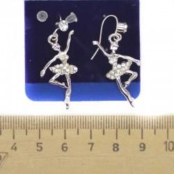 Серьги балерина серебристые М58