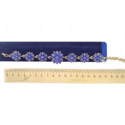Браслет цветок синий золотистый М44
