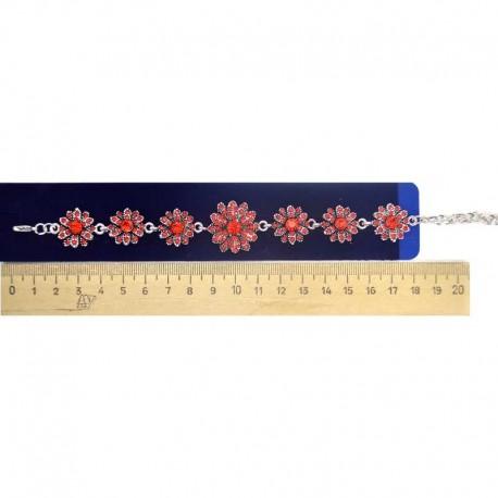 Браслет цветок красный серебристый М48