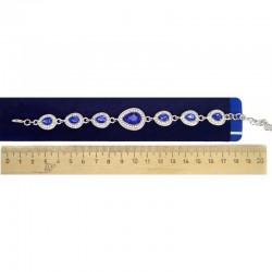 Браслет капля синий серебристый М51