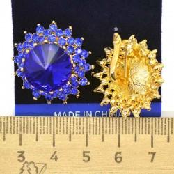 Серьги круглые синие М62