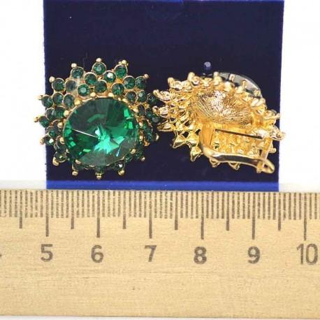 Серьги круглые зеленые М63
