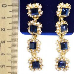 Серьги М55 квадрат синий в золоте