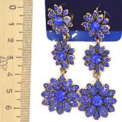 Серьги М57 цветок синий бронза