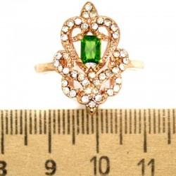Кольцо мм М9 зеленый камень