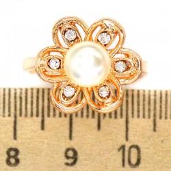 Кольцо мм М35 цветок жемчужина