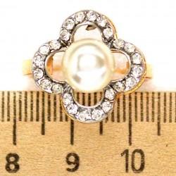 Кольцо мм М39 цветок жемчужина