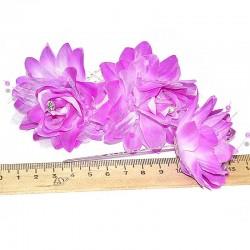 Шпилька для волос цветы (3 шт) фиолетовые М14