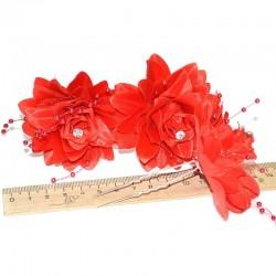 Шпилька для волос цветы (3 шт) красные М15