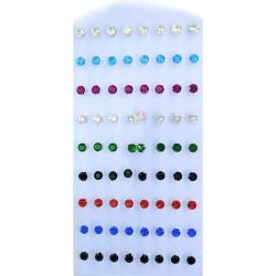 Серьги кристалл в оправе 1 ряд (9 пар) М1