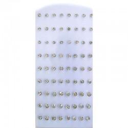 Серьги гвоздики стразы белые (9 пар) М2