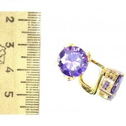 Серьги кристалл фиолетовый М77 в золоте