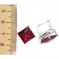 Серьги кристалл красный М78 в серебре