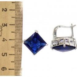 Серьги кристалл синий М80 в серебре