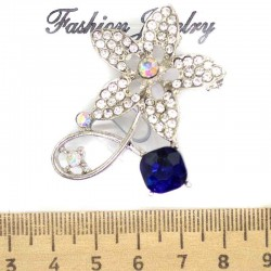 Брошь цветок камень синий М85 в серебре