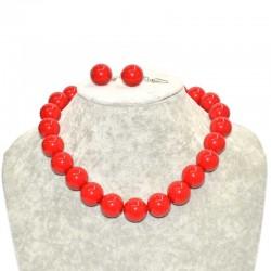 Набор бусы крупные с сережками красный насыщенный Б24