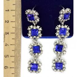 Серьги М58 синий в серебре