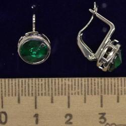 Серьги хх круг зеленый в серебре М100