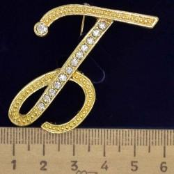 Брошь буква Б в золоте М103